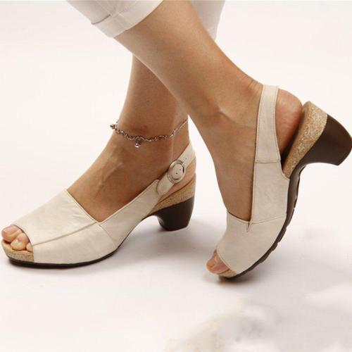 Women Elegant Chunky Heel Peep Toe Slingback Comfy Sandals