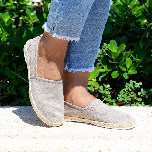 Easy Slip on Taupe Espadrille Flats