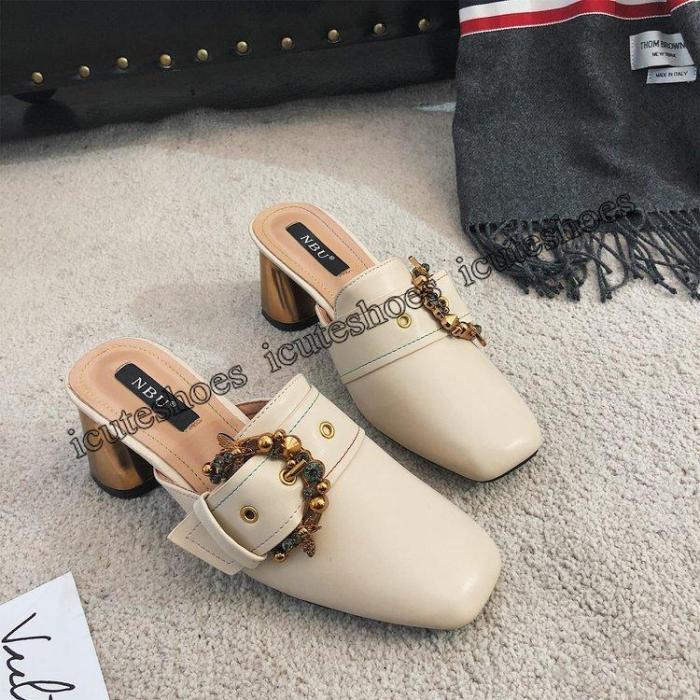 Slippers Women's Fashion Rhinestone Thick Heel Muller Shoes Fashion Sandal