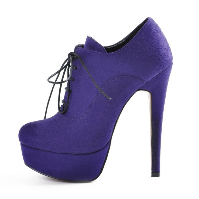 Platform Lace Up Stiletto High Heels Purple Suede Leather Ankle Bootie