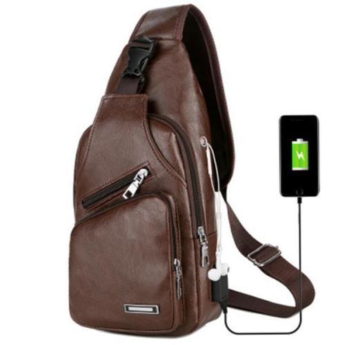 Outdoor USB Charging Port Chest Bag Travel Sling Crossbody Bag