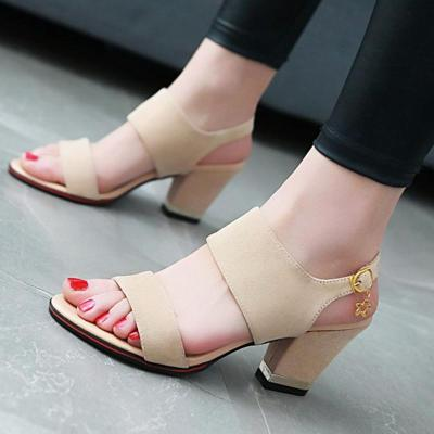 Chunky Heel Suede Open Toe Casual Sandals