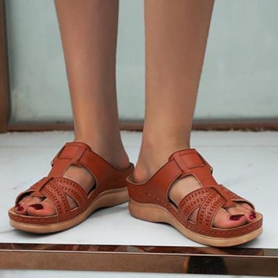 Peep Toe Platform Wide Fit Sldie Slipper Sandals