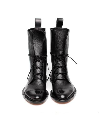 Vintage personality strap flat high heel ankle boots