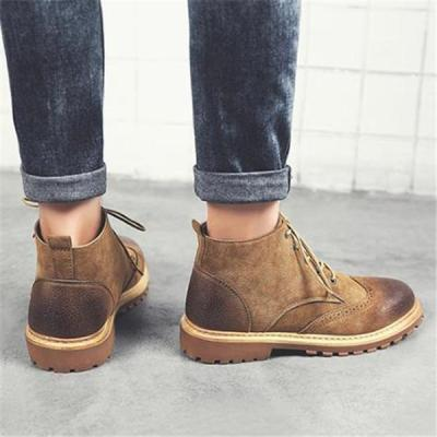 Fashion Casual Gentle Solid Color High Tube Men Martin Boot Shoes