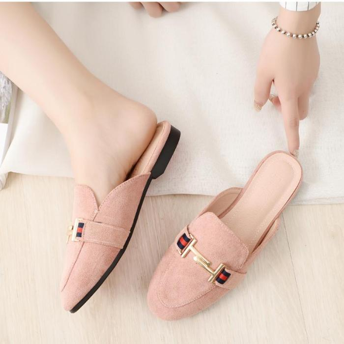 New Spring and Autumn Flat Slippers Women Cozy Outside Wearing Fashion Muller