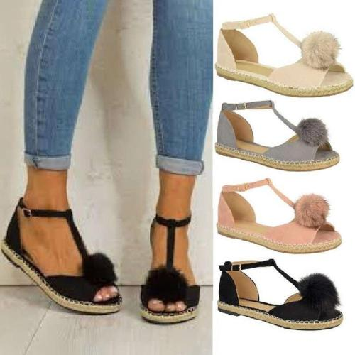 Adjustable Buckle Holiday Flat Heel Sandals