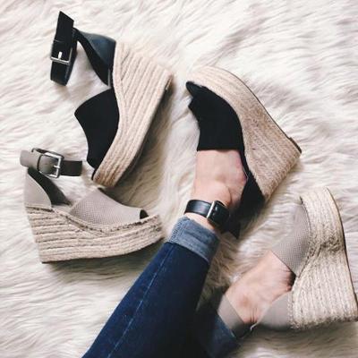 Summer Adjustable Buckle Wedge Heel Sandals