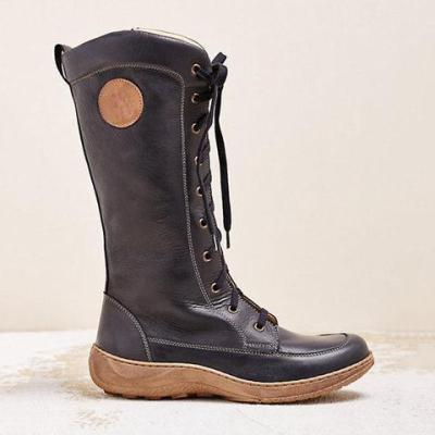 Front Lace-Up Low Wedges Mid-Calf Pu Boots