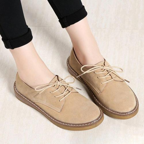 Women Comfy Leather Plush Lined Lace Up Flat Shoes