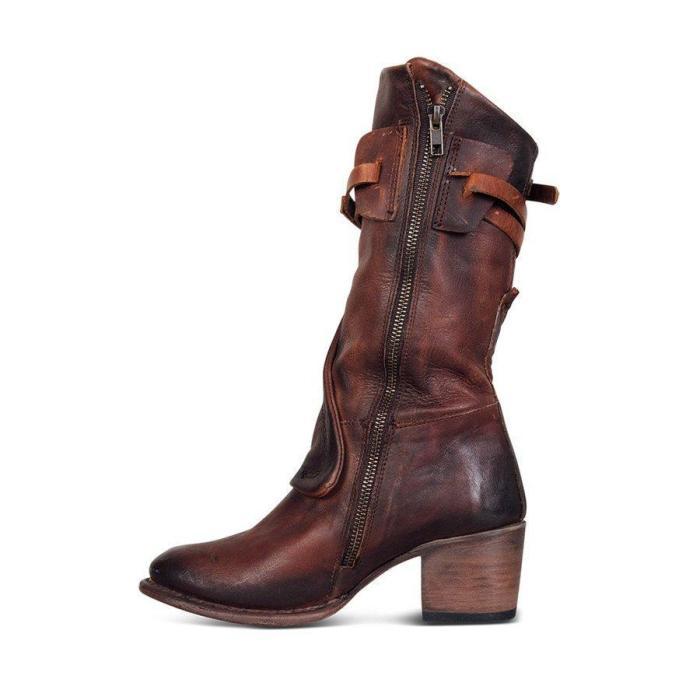 Women Vintage Low Heel Zipper Faux Leather Boots