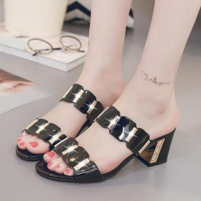 Fashion Outer Wear Sandals Chunky Heel Single-strap Slipper