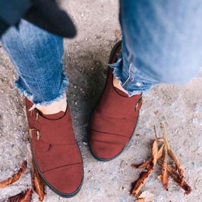Round Toe Buckle Flat Heel Casual Women Loafers