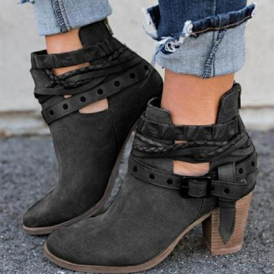 Martin Ankle Boots Square Heel Women Motorcycle Boots