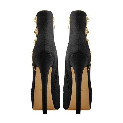 Platform Black Suede Gold Button Stiletto Ankle Boots