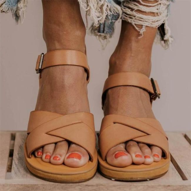 Brown Fashion Versatile Wedge Sandals