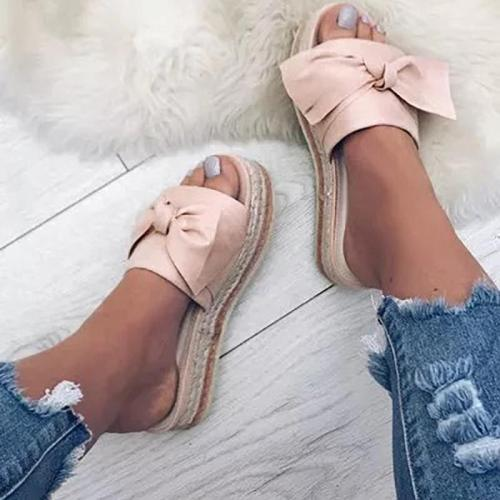Women Bow Platform Mules Shoes