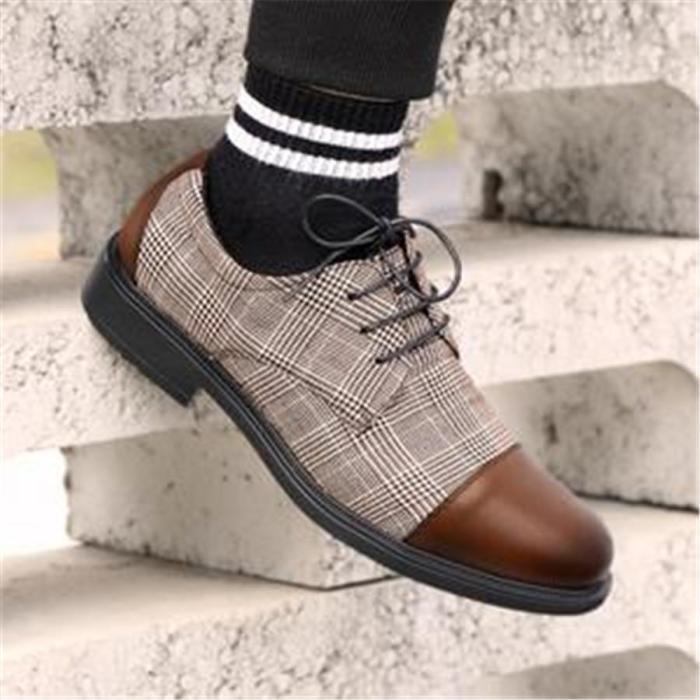 Retro Genuine Leather Plaid Lace Up Shoes