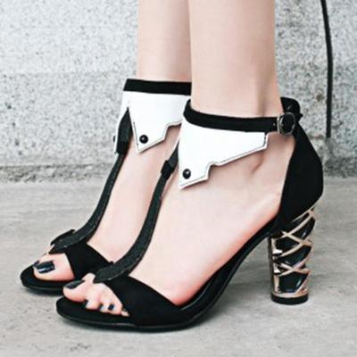 Sexy Open Toe Summer Chunky Heel Shoes