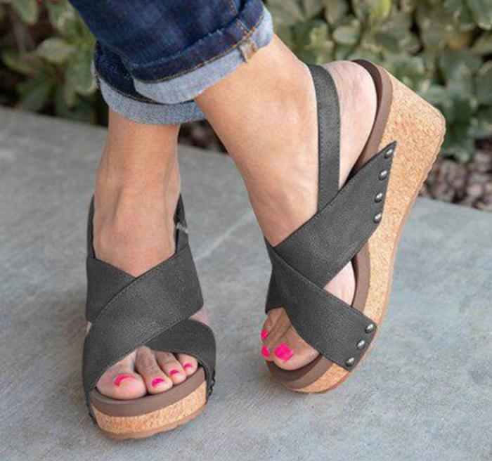 Women's Microfiber Peep Toe Velcro Middle Wedge Heel Sandals