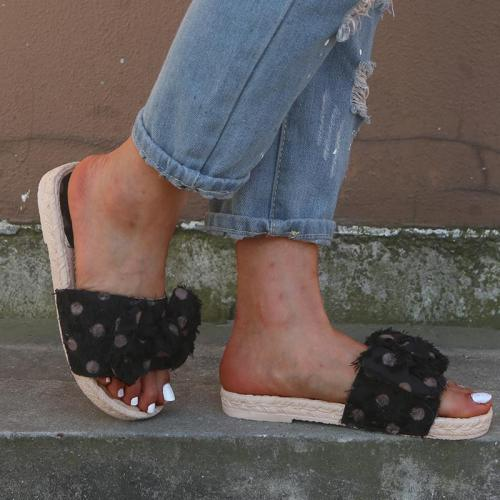 Women's Polka Dot PU Peep Toe Flat Slippers