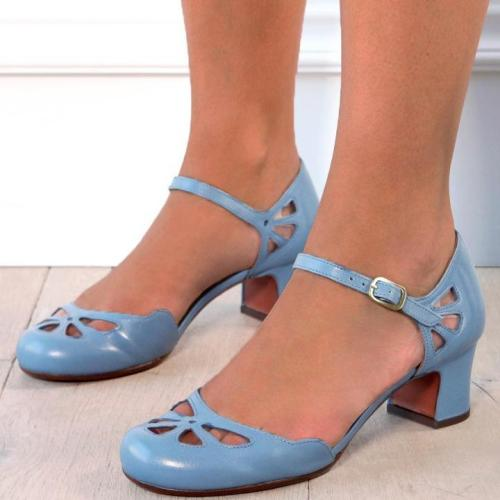 Hollow Out Buckle Strap Mary Jane Shoes Women