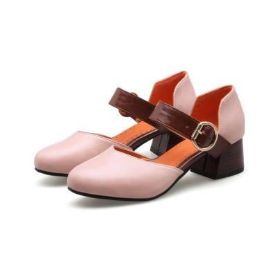 Summer Toe Covered Chunky Mid Heel Sandals for Women Shoes
