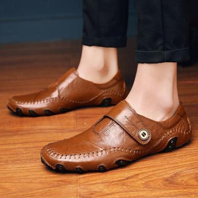 Mens Large Size Hand Stitching Casual Driving Flat Shoes