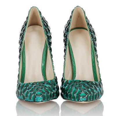 Green Rhinestone High Heel Genuine Leather Party Shoes