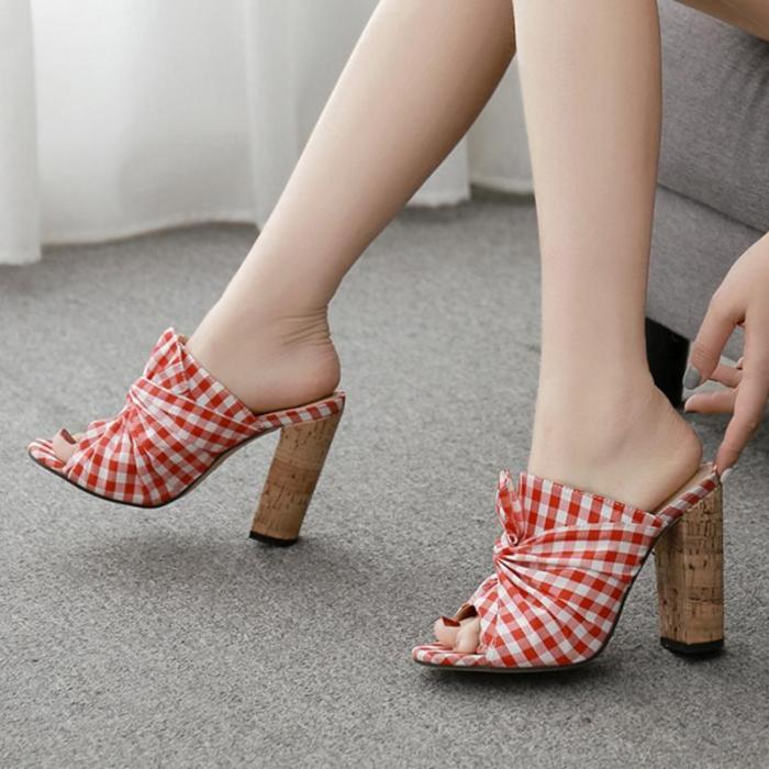 Sweet Chunky Heel Date Daily Casual Slippers