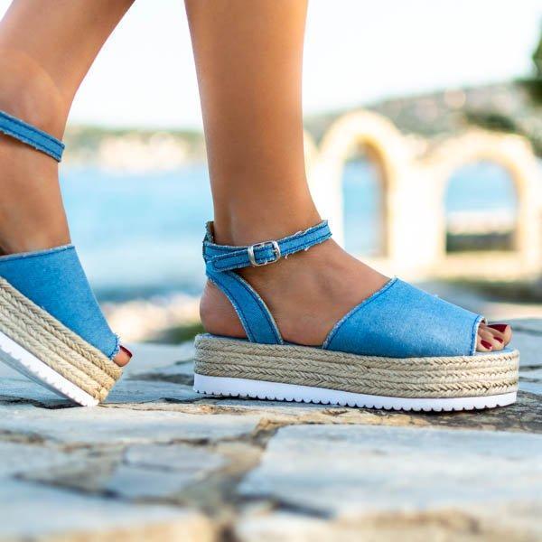 Women Pu Leather Espadrille Wedge Sandal
