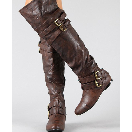 Artificial Leather Buckles Side-Zipper Knee-High Boots