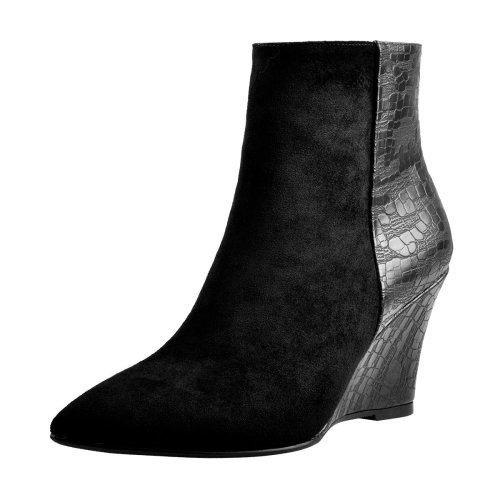 Suede Patch Matte Wedge Heel Ankle Boots
