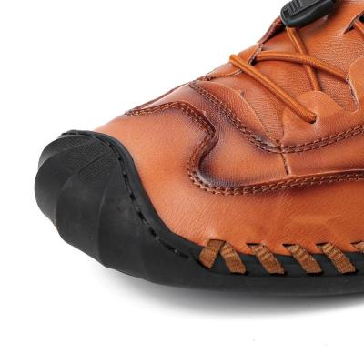 Men Hand Stitching Non Slip Elastic Lace Soft Sole Casual Flats