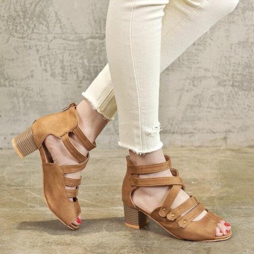 Chunky High Heels Open Peep Toe Pumps Platform Zip Shoes Color Size