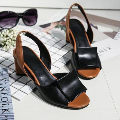 vintage slip on slide open toe sandals chunky silver female high heels