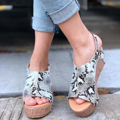 Summer Printed Peep Toe Women Wedges Sandals