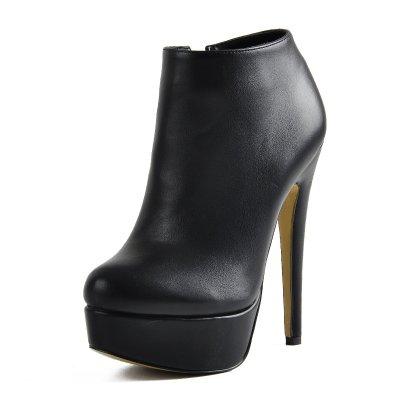Black Platform Zipper Stiletto Ankle Boots