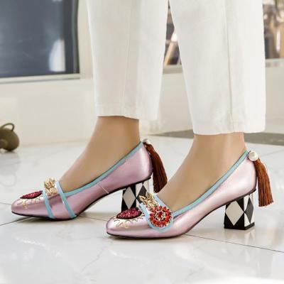Rhinestone Rivet Imitation pearls Genuine Leather Shoes