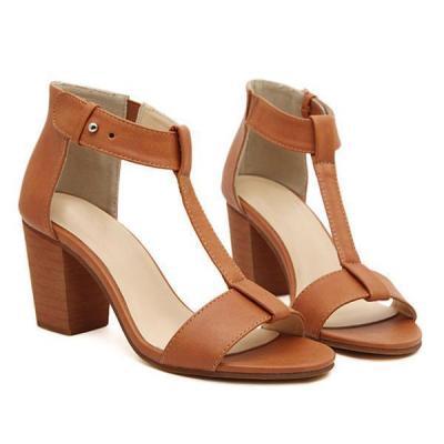 Plain Chunky High Heeled Peep Toe Date Office Sandals