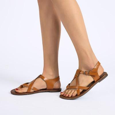 Women's PU Peep Toe Ethnic Style Beach Adjustable Buckle Flat Sandals