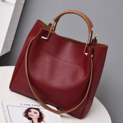 Womens Large Capacity Simple Zipper PU Casual Tote Bags Shoulder Bags