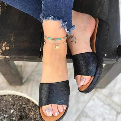 Women's Round Toe Middle Wedge Heel Slippers