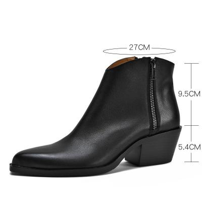Classic side zipper mid heel ankle boots