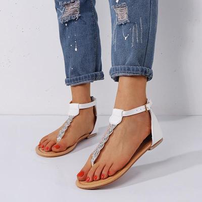 Women's PU Flip-flops Crystal Adjustable Buckle Flat Sandals