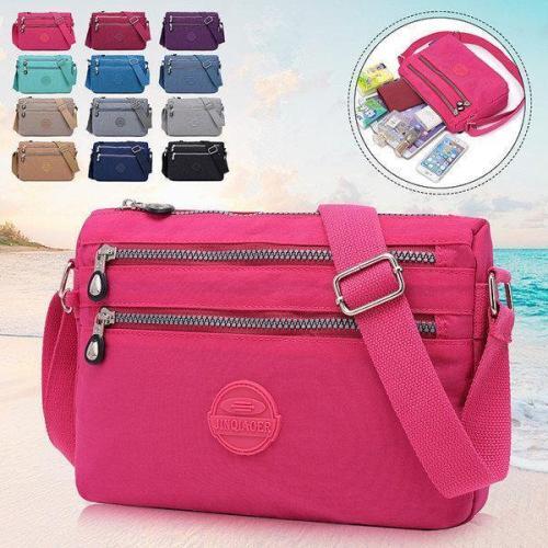 Nylon Water Resistant Multi-slot Crossbody Bag Solid Leisure Bag