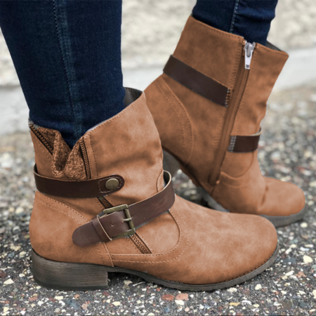 Pu Buckle Side-Zipper All Season Casual Boots