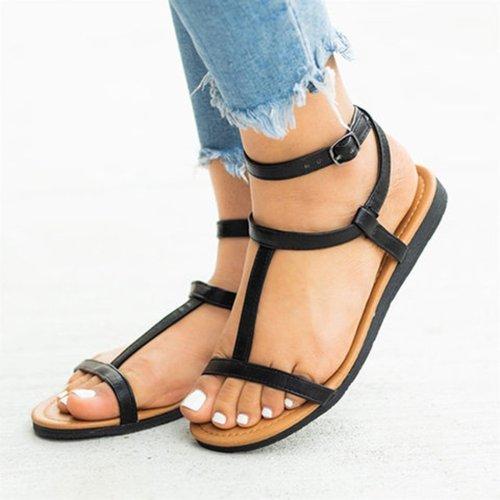 Women's PU Round Toe Rome Style Adjustable Buckle Beach Flat Sandals