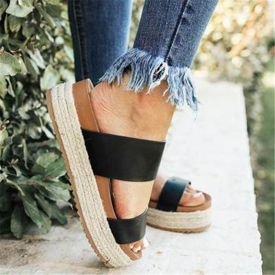 Fashion Simple Espadrille Thick-Soled Slippers