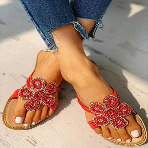 Flower Pattern Beaded Design Toe Post Sandals